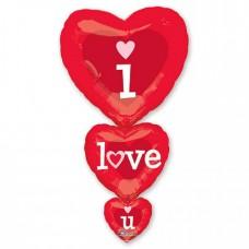 Шар фольгированный 3 сердца с надписью