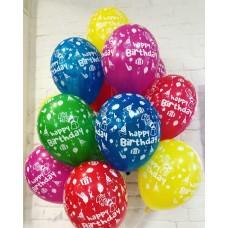 Шар латексный Happy birthday ассорти