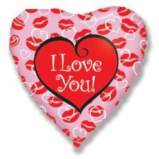 Шар сердце I Love you в поцелуях