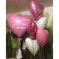 Набор сердец розовых 5+1