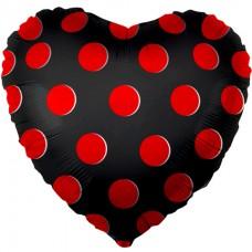 Фольгированное сердце черное в красную точку