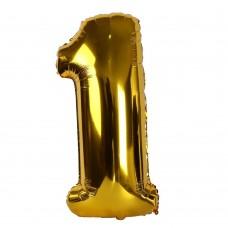 """Фольгированная цифра """"1"""" золото 1м"""