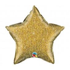 Шар звезда глиттерная розовое золото 50 см