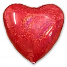 Шар сердце красное глиттерное 50 см