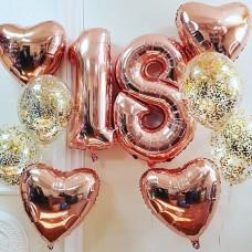Набор из шаров 18 лет розовое золото