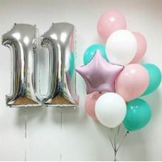 Композиция из шаров с цифрами Розовый-аквамарин