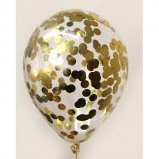 Шар конфетти золото кружочки