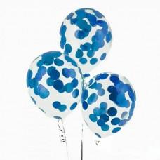 Шар латексный конфетти синий круг