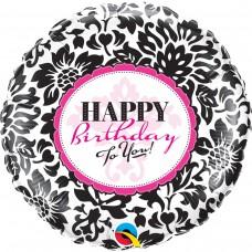 Фольгированный шар Happy Birthda черно - белый